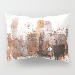 Brown Miami watercolor skyline design Pillow Sham