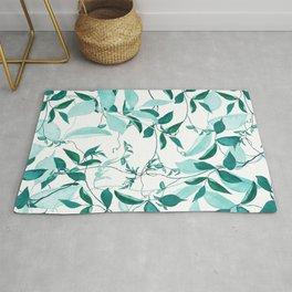 fresh green leaf pattern Rug