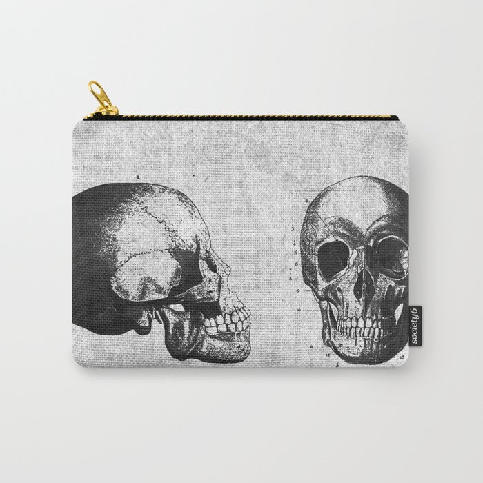 Vintage Medical Engravings of a Human Skull Carry-All Pouch