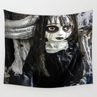 pastel goth Wall Tapestries featuring Goth Girl by Nevermind the Camera