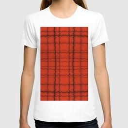 jagged grid, black on red T-shirt