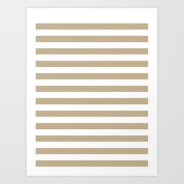 Narrow Horizontal Stripes - White and Khaki Brown Art Print