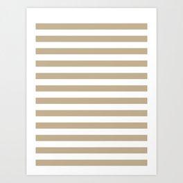 Narrow Horizontal Stripes - White and Khaki Brown Art Print