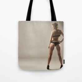 Sexy Woman in Lingerie and Heels Tote Bag