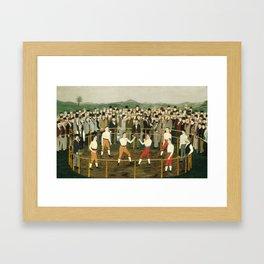 Vintage Boxing Painting - Folk Art Framed Art Print