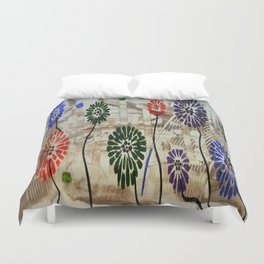 Colorful Garden Abstract Acrylic Painting By Saribelle Duvet Cover