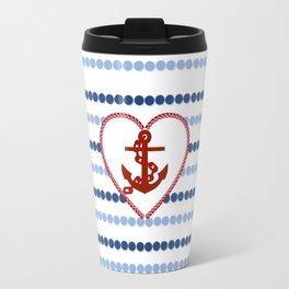 Modern navy blue nautical red heart anchor polka dots stripes Travel Mug