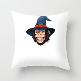 Witch Monkey, It's Show Time Funny Halloween Horror Scary Throw Pillow