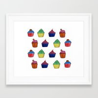 cupcakes Framed Art Prints featuring cupcakes by MeriRS