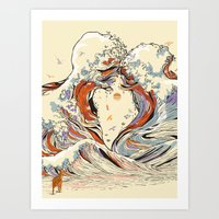 japanese Art Prints featuring The Wave of Love by Huebucket