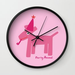 Party Animal-Pink Wall Clock