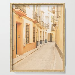 Seville I [ Andalusia, Spain ] Yellow spanish street⎪Colorful travel photography Poster Serving Tray