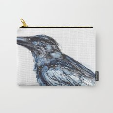 Crow with Blue Carry-All Pouch