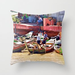 Yangon Harbour Throw Pillow