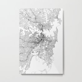 Sydney White Map Metal Print