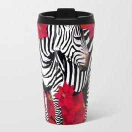 ZEBRA AND FLOWERS Travel Mug