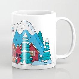 Cartoon snow home and rural cottages set. Coffee Mug