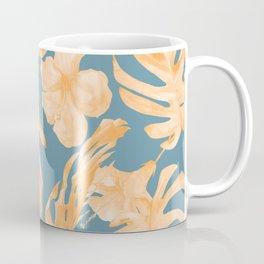Island Hibiscus Palm Coral Teal Blue Coffee Mug