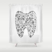 tooth Shower Curtains featuring Tooth by aleksander1