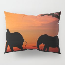 Elephants in the African sunset Pillow Sham