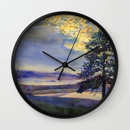Colorful sunset silhouetting trees and lake.  Watercolor landscape artwork tree painting Wall Clock