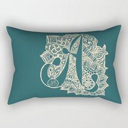 Zentangle A teal Rectangular Pillow