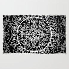 Detailed Black and White Mandala Pattern Rug
