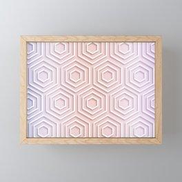3D Hexagon Gradient Minimal Minimalist Geometric Pastel Soft Graphic Rose Gold Pink Framed Mini Art Print