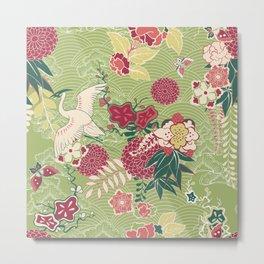 Silk Crane Pattern  Metal Print