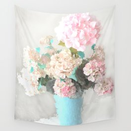 Shabby Chic Hydrangea Flowers Pink White Aqua Blue Wall Tapestry