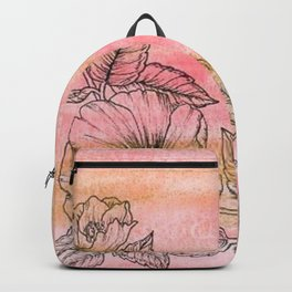 Wild Rose Illustration with watercolor background Backpack