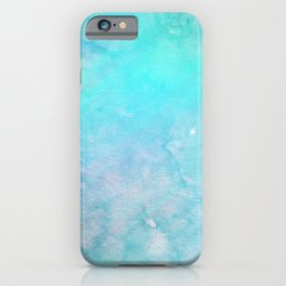 Abstract Teal Turquoise Pink Watercolor Holographic iPhone Case