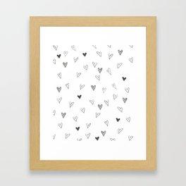 Ink hearts pattern Framed Art Print