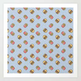 Cute pink brown blue funny fries burger food triangles pattern Art Print