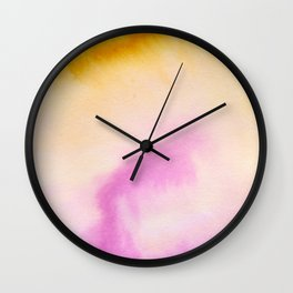 Sunflower yellow magenta pink abstract watercolor paint Wall Clock
