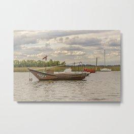 Fishing and Sailboats at Santa Lucia River in Montevideo, Uruguay Metal Print
