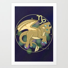 Capricorn - Zodiac Dragons Art Print