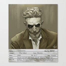 1930s Joker Mugshot Canvas Print