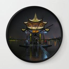 Nighttime Pagoda on West Lake Wall Clock