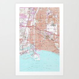 Vintage Map of Long Beach California (1964) Art Print