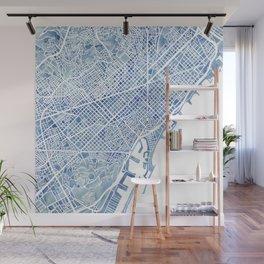 Barcelona Blueprint Watercolor City Map Wall Mural