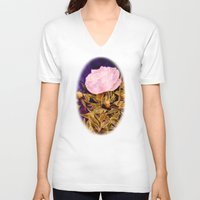 peony V-neck T-shirts featuring Peony by Vargamari