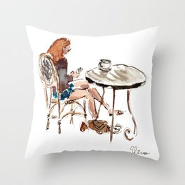 Coffee in Rice Village Throw Pillow