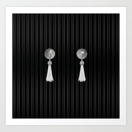 Burlesque Tassel Pasties in Sparkly Silver Art Print