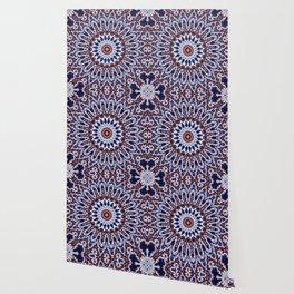 Mandala Fractal in Red White and Blue 03 Wallpaper
