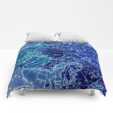 North Pole Neon Map Comforters