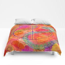 Hippie Chic Paisley Flowers Peace Comforters