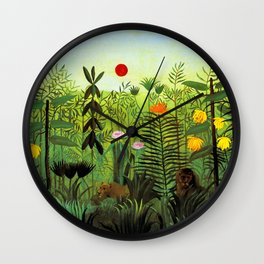 "Henri Rousseau ""Exotic Landscape with Lion and Lioness in Africa"", 1903-1910 Wall Clock"