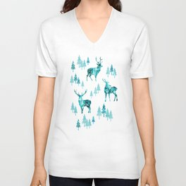 Ice Forest Deer Unisex V-Neck