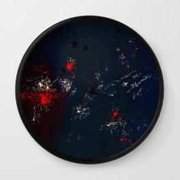 Fireworks and Bokeh Wall Clock
